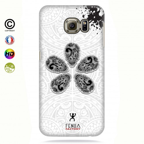 coque galaxy s6 edge B&W Skull flowers
