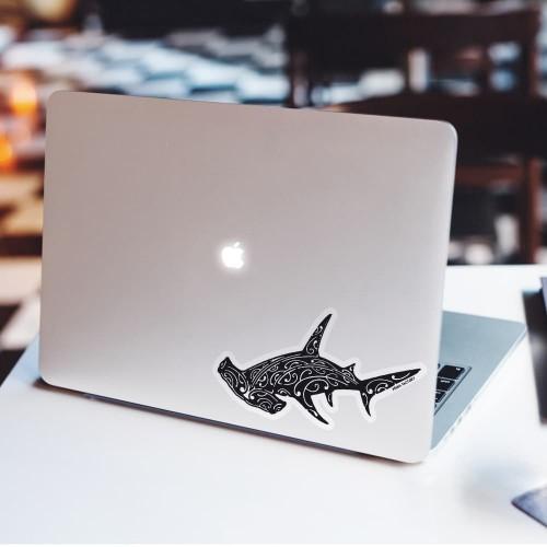 Stickers autocollants Requin Marteau noir fond blanc