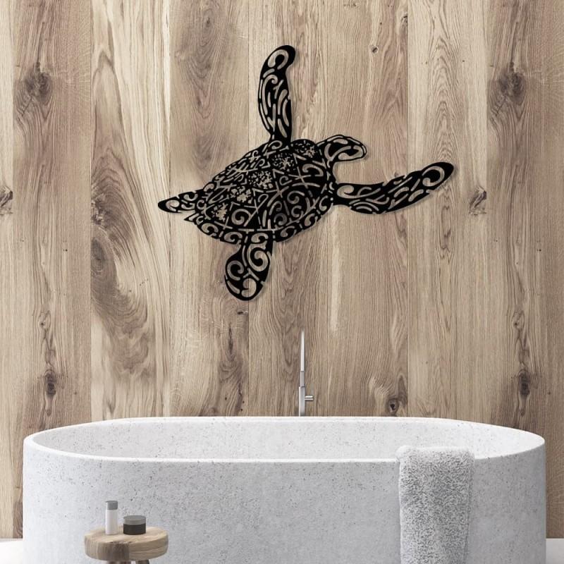 création murale en métal de tortue marine style polynésien