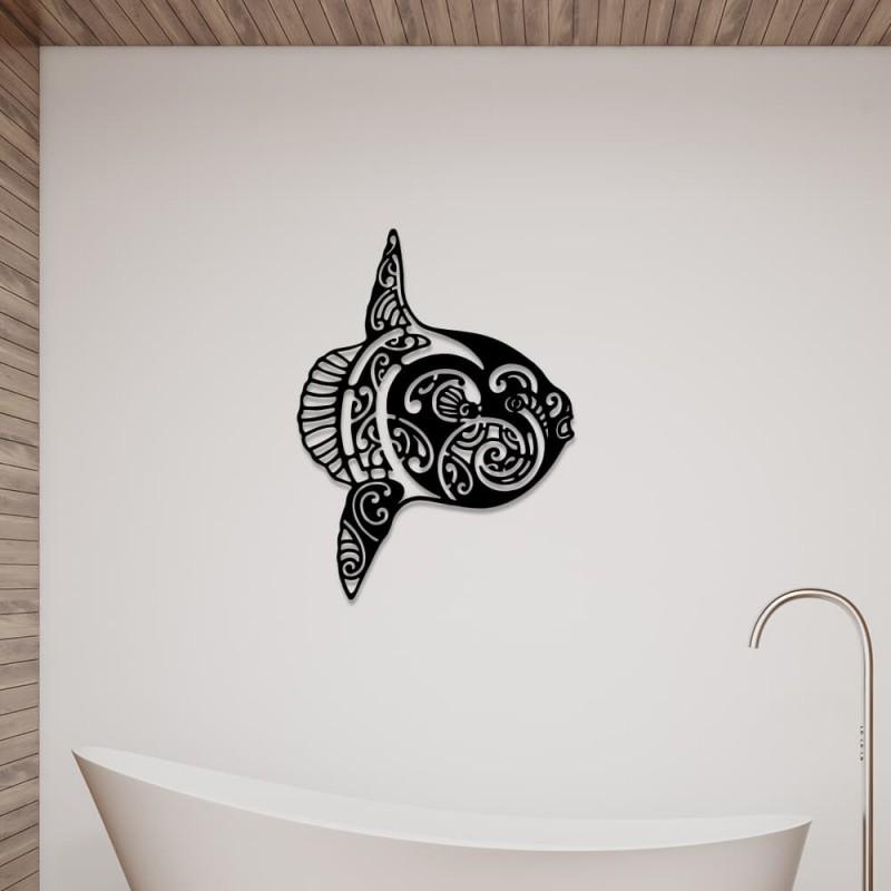 """création décoration murale en métal """" poisson lune mola mola """" ACIER THERMOLAQUE"""