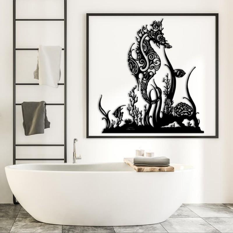 création décoration murale en métal HIPPOCAMPE ET CORAUX SANS PIED en acier thermolaqué