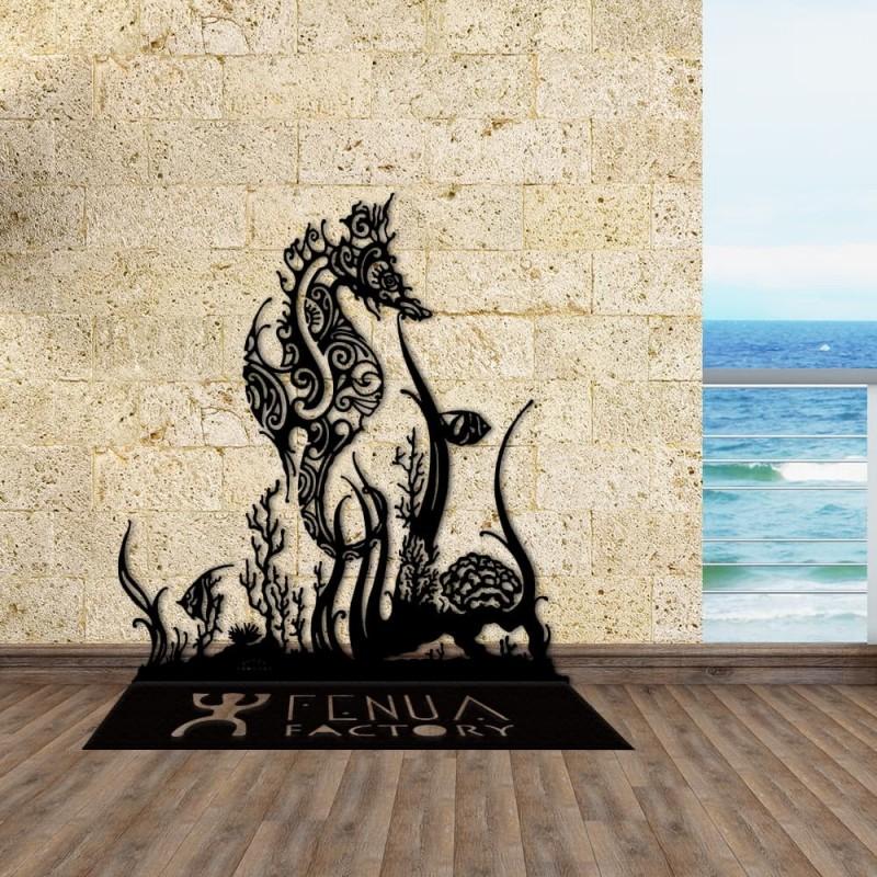 création décoration en métal HIPPOCAMPE ET CORAUX SUR PIED en acier thermolaqué