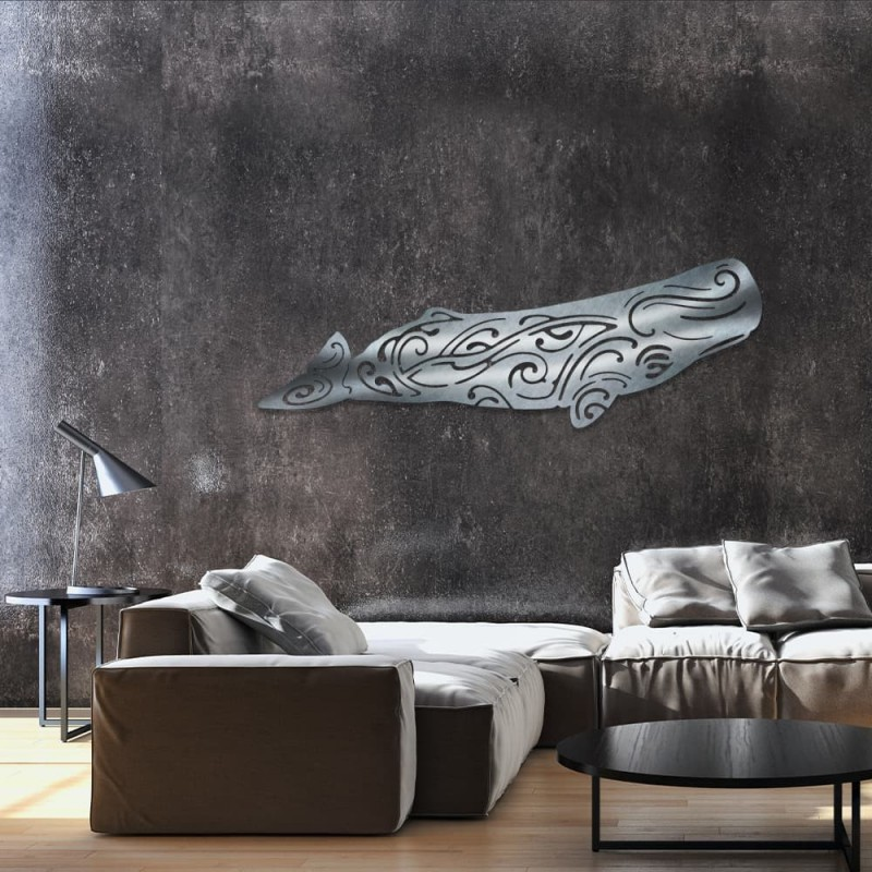 """décoration murale en métal """" CACHALOT """" ACIER INOX"""