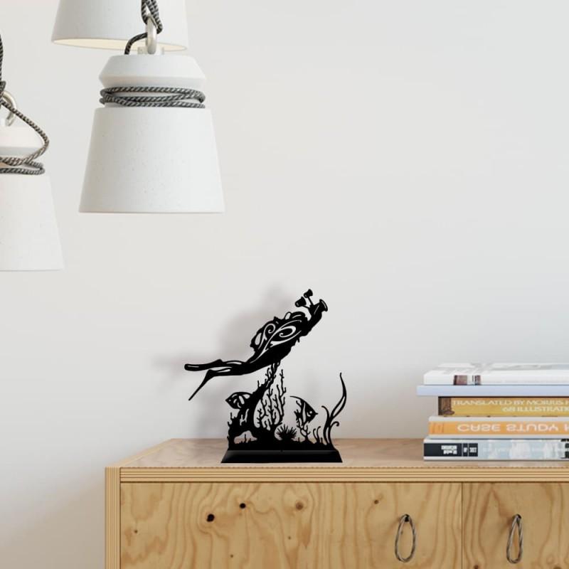 création décoration en métal plongeur photographe acier thermolaqué