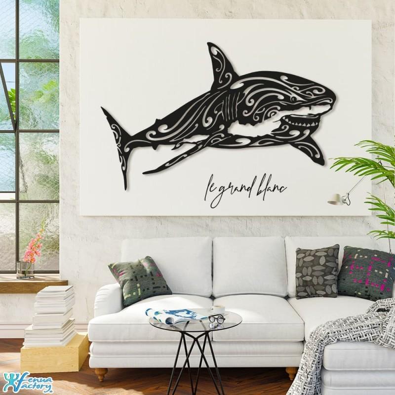 Décoration création murale en métal de requin blanc