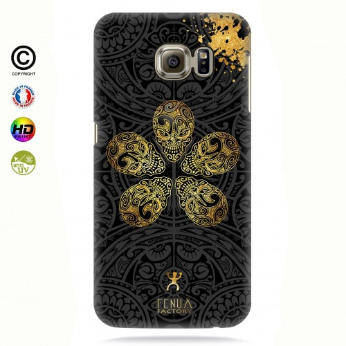 coque galaxy s7 edge Gold Skull flowers