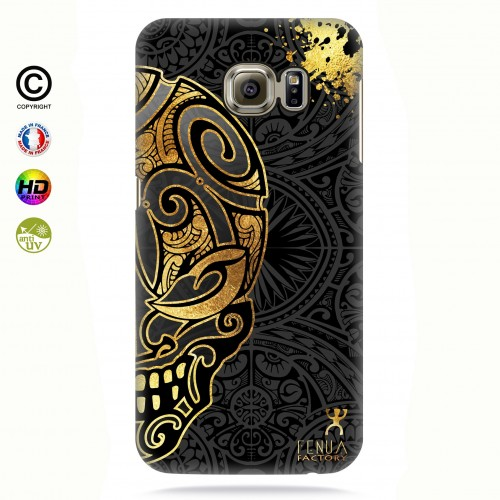 coque galaxy s7 edge Mid Gold Skulls