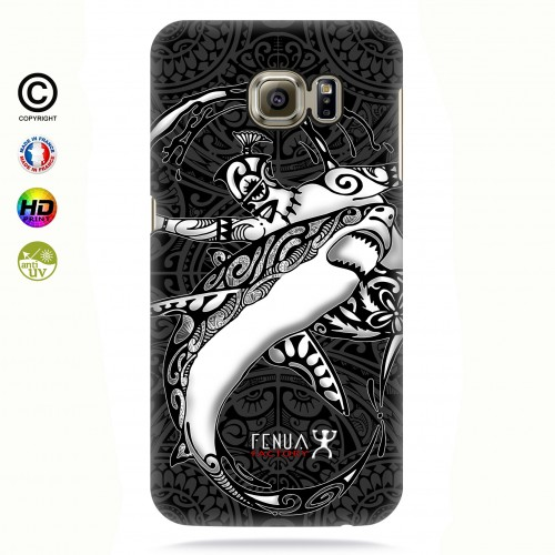 coque galaxy s7 edge b&w shark surfing