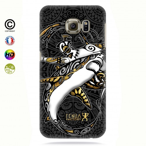 coque galaxy s7 edge gold shark surfing