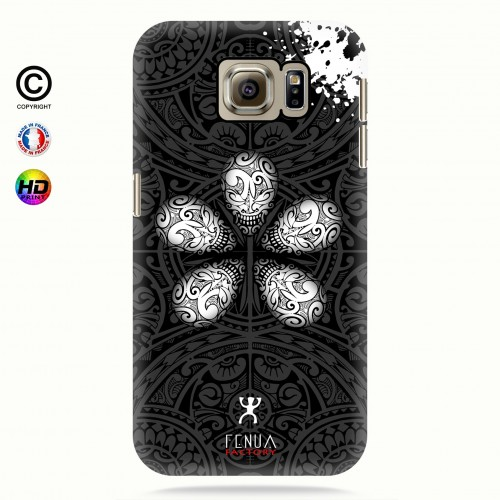 coque galaxy s6 B&W Skull flowers