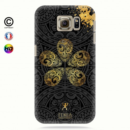coque galaxy s6 Gold Skull flowers