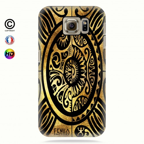 coque galaxy s6 tribal cube gold +