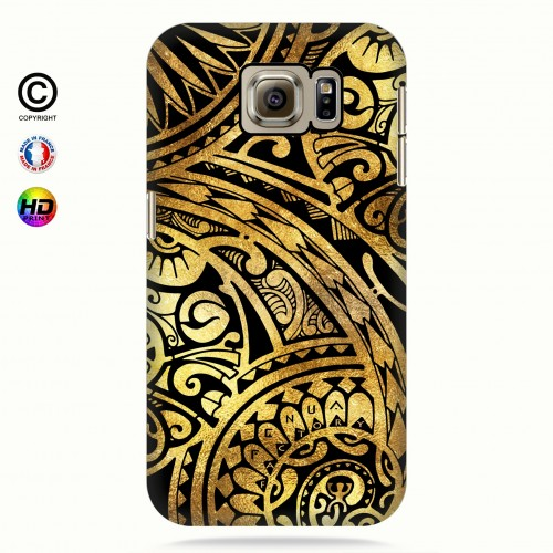 coque galaxy s6 tribal frieze gold +