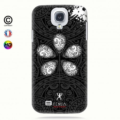 coque galaxy s4 B&W Skull flowers