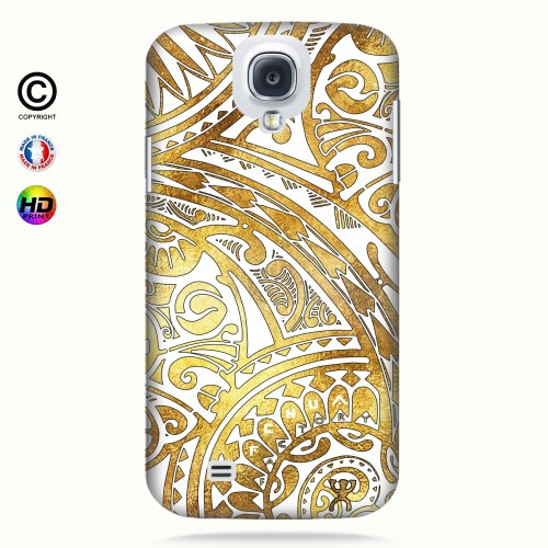 coque galaxy s4 tribal frieze gold +