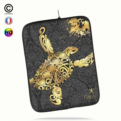 Housse universelle 12 pouces ipad Air 1-2-Pro 9.7 Tortue Gold