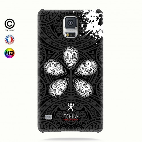 coque galaxy s5 B&W Skull flowers