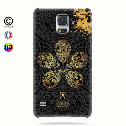 coque galaxy s5 Gold Skull flowers