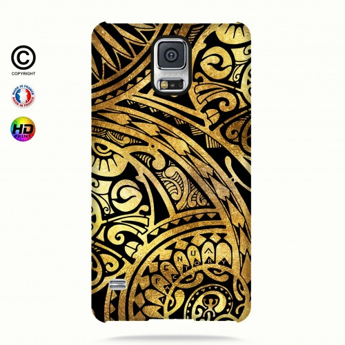 coque galaxy s5 tribal frieze gold +