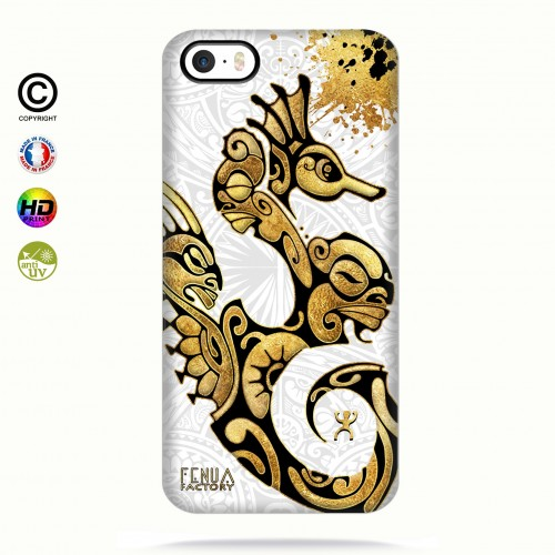 Coque iphone 5-5s-5se Hippocampe Gold