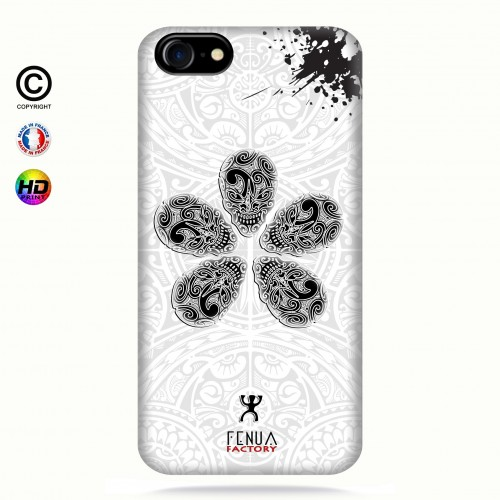 coque iphone 7 B&W Skull flowers