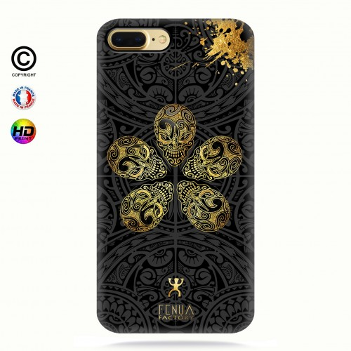coque iphone 7 Gold Skull flowers