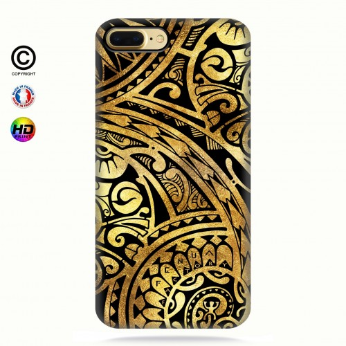 coque iphone 6+/6s+ tribal frieze gold + quart