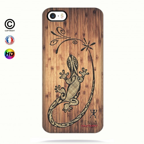 Coque iphone 5-5s-5se tribal bamboo gecko