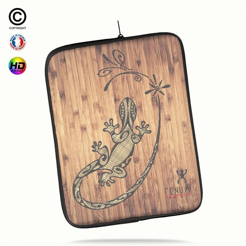Housse universelle 12 pouces ipad 2-3-4 rétina tribal bamboo gecko