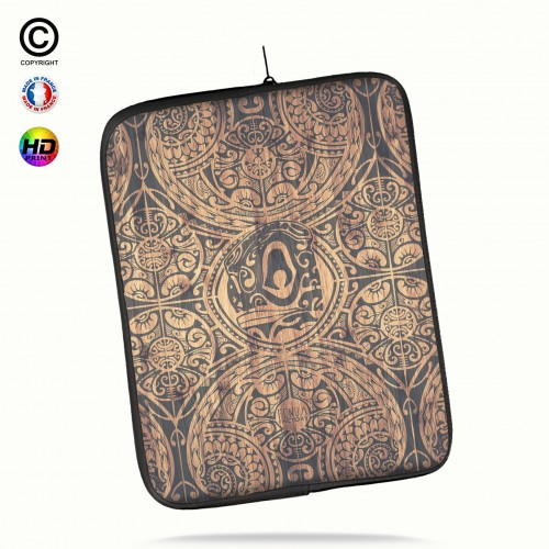 Housse universelle 12 pouces ipad Air 1-2-Pro 9.7 tribal tiki bamboo