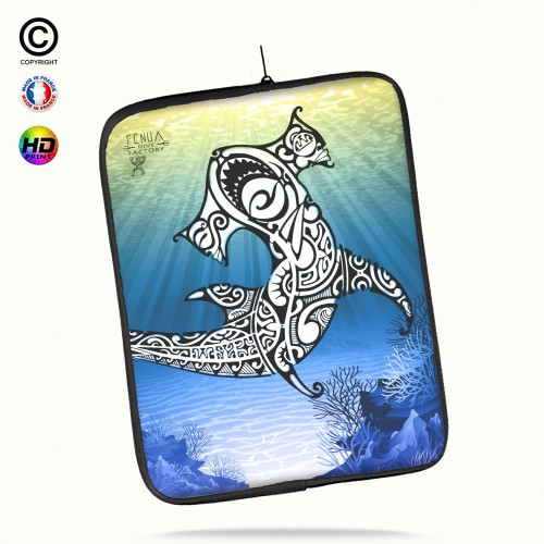 Housse universelle 12 pouces ipad Air 1-2-Pro 9.7 shark under the sea