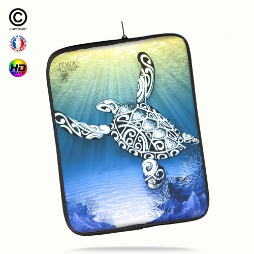 Housse universelle 12 pouces ipad Air 1-2-Pro 9.7 turtle under the sea