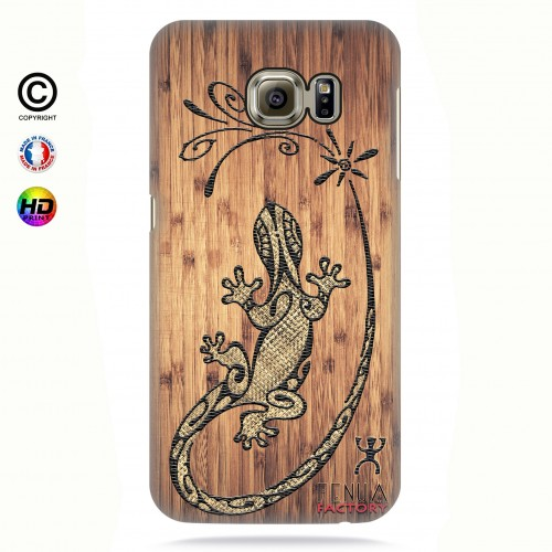 Coque galaxy s6 edge tribal bamboo gecko