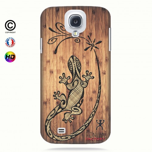 Coque galaxy s4 tribal bamboo gecko