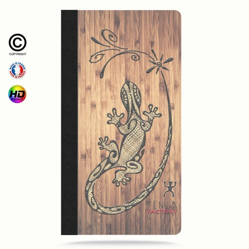 Etui Porte cartes iphone 5-5s-5se tribal bamboo gecko