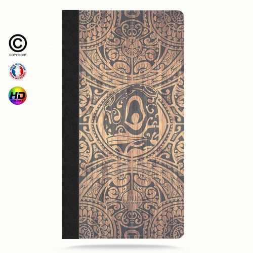 Etui porte cartes iphone 5-5s-5se tribal tiki bamboo