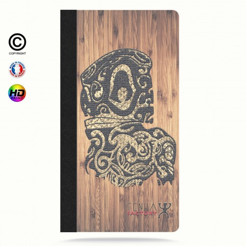 Etui Porte cartes iphone 5-5s-5se tribal bamboo tiki