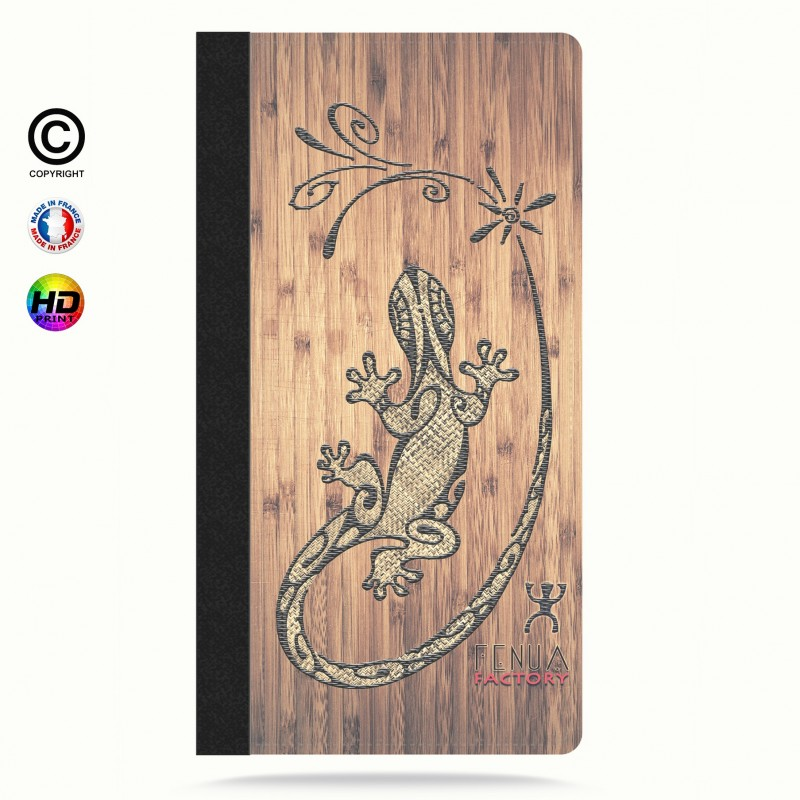 Etui Porte cartes iphone 6+/6S+ tribal bamboo gecko