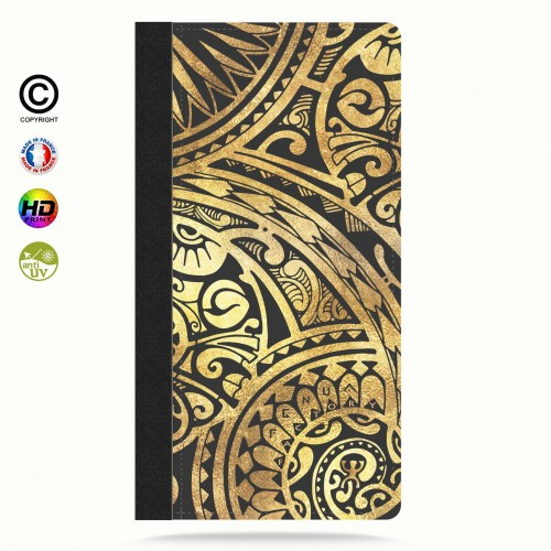 Etui Porte cartes galaxy S4 tribal frieze gold +