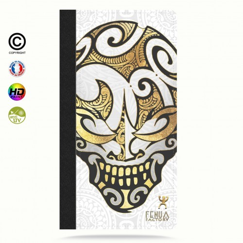 Etui Porte cartes galaxy S5 Big Gold Skulls