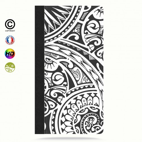 Etui Porte cartes galaxy S4 tribal frieze b&w quart
