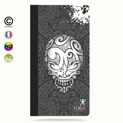 Etui Porte cartes galaxy S6 B&W Skulls