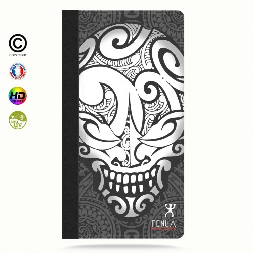 Etui Porte cartes galaxy S6 Big B&W Skulls