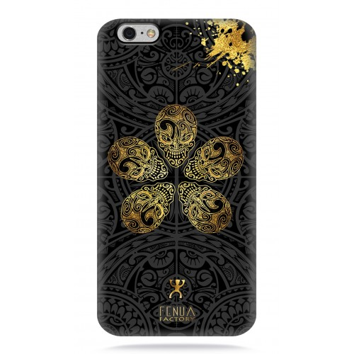 coque iphone 6-6s Gold Skull flowers