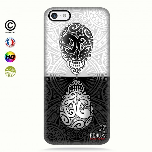 coque iphone 5c B&W Skulls Mirror