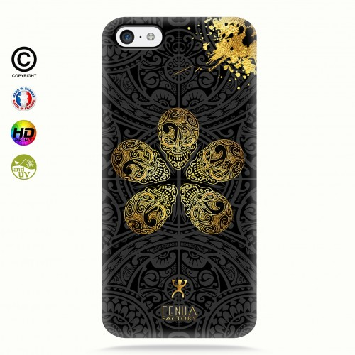 coque iphone 5c Gold Skull flowers