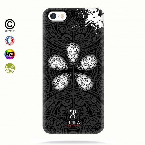 coque iphone 5-5s-5se B&W Skull flowers