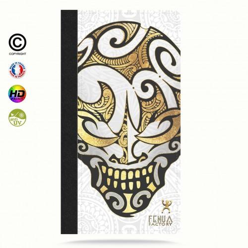 Etui Porte cartes galaxy S5 Big Gold Skulls