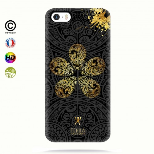 coque iphone 5-5s-5se Gold Skull flowers