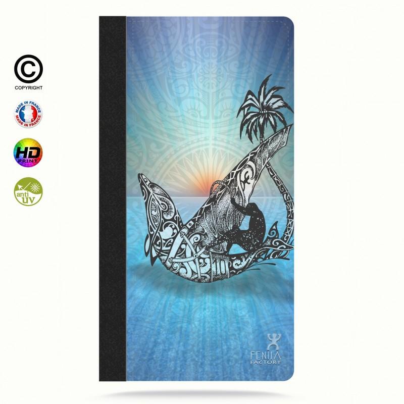 Etui Porte cartes galaxy S5 Sunset Dolphin sailboard